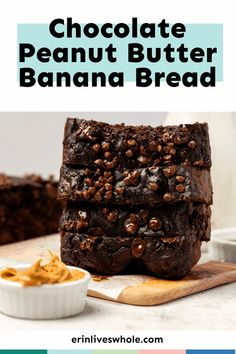 Transform overripe bananas into this Healthy Chocolate Peanut Butter Banana Bread for a treat that everyone will love! Made with cocoa powder, peanut butter, maple syrup, and more. Peanut Butter Banana Bread, Healthy Banana Bread, Chocolate Chip Banana Bread, Healthy Peanut Butter, Healthy Cake, Healthy Dessert Recipes, Chocolate Peanut Butter, Healthy Baking, Delicious Desserts