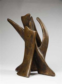 Alicia Penalba  (French, 1913–1982) Sans titre bronze w/gold patina 42 x 22 x 32 cm. (16.5 x 8.7 x 12.6 in.)