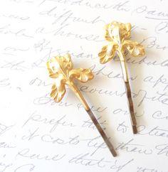 Gold Iris Flower Hair Pins - Iris Bobby Pin - Woodland - Rustic - Nature - Bridal by NestingPretty #TrendingEtsy