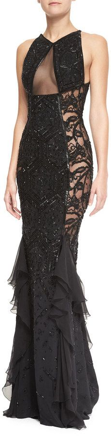 $11,800, Black Lace Evening Dress: Emilio Pucci Beaded Lace Sheer Panel Gown Nero Black. Sold by Neiman Marcus.
