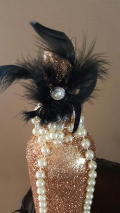 Gold Glitter Feathers Pearls and More! Bridal Shower Reception Party Custom Orders Welcome! by on Etsy Pearl Centerpiece, Bridal Shower Centerpieces, Pumpkin Centerpieces, Flower Table Decorations, Wedding Decorations, Wedding Ideas, Wedding Colors, Gatsby Wedding, Gatsby Party