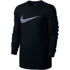 Nike Mens Long Sleeve Swoosh T-Shirt (1.595 RUB) ❤ liked on Polyvore featuring men's fashion, men's clothing, men's shirts, men's t-shirts, black, mens t shirts, nike mens shirts, mens longsleeve shirts, mens long sleeve t shirts and nike mens t shirts