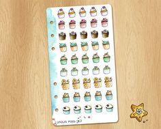 Mini Watercolor Stickers of Winter Cupcakes - Perfectly Fitting Planners Like Filofax Personal or Kikki.k Medium Winter Cupcakes, Watercolor Stickers, Filofax, Planners, Clip Art, Medium, Holiday Decor, Mini, Unique Jewelry