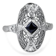 The Yamei Ring from Brilliant Earth circa 1920's This Art Deco-era ring features a bezel set, antique square cut deep blue sapphire and is surrounded by intricately detailed white gold and four glittering old European cut diamonds (approx. 0.06 total carat weight).
