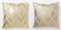 West Elm Knockoff Metallic Pillow Covers - did you know you could use gold leaf on fabric?! #knockoutknockoffs