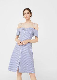 Off-shoulder striped dress - Woman - Robe 2019 Vestido Off Shoulder, Cold Shoulder Dress, Beyonce Vestidos, Summer Fashion Trends, Spring Summer Fashion, Day Dresses, Summer Dresses, Robes Midi, Light Dress