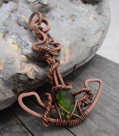Copper Anchor pendant with sea glass by SeaglassPetraDesigns