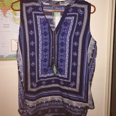 NWT Brixon Ivy sleeveless blouse Beautiful blue and white pattern. New with tags, never worn. Brixon Ivy Tops Blouses