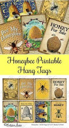 Honeybee Printable Hang Tags Download and Print Collage Sheet #ad #Etsy #bees #printable #BusyBee #raisingbees #beekeepingtips