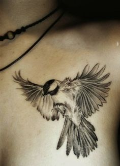 Cool Flying Bird Tattoo-Gorgeous Chickadee | Love Bird Tattoos