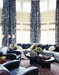Beautiful Custom Blue Patterned Curtains Project By