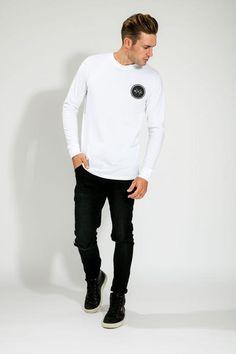 WHITE/BLACK LOGO LONG SLEEVE TEE Long Sleeve Tees, Logo, Sleeves, Mens Tops, T Shirt, Black, Fashion, Supreme T Shirt, Moda