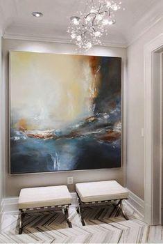 Gran contemporánea pintura beige gris en tela hechos a mano