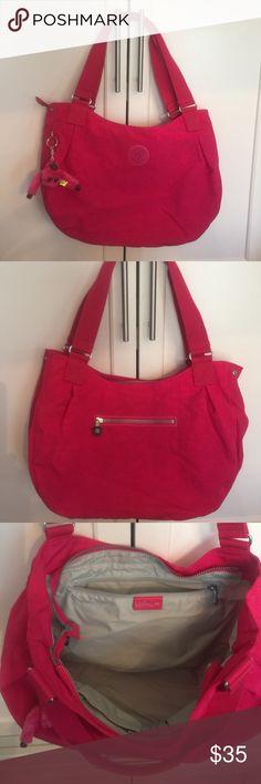 NWOT Kipling Hot Pink Large Bag Zipper closure, never used, very spacious. Kipling Bags Totes