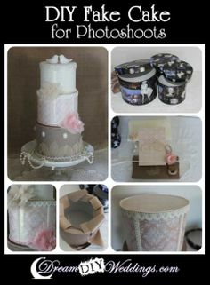 DIY Fake Cake for Photoshoots using round Hat Boxes from the Dollar Stores. Full Details can be found at http://www.dreamdiyweddings.com/diy-fake-cake-for-photoshoots/