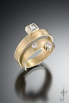 "isabelle posillico. ""Road Trip"" Ring, Narrow band: 18K & diamonds."
