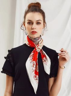 Silk Neck Scarf, Neck Scarves, Ascot, School Uniform, Cut Off, Floral Tie, Women's Fashion, Clothing, Model