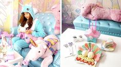 This Unicorn Cafe in Bangkok offers a unique experience of having a rainbow cake and sparkling drinks in a unicorn hood. Unicorn Cafe, Unicorn Party, Rainbow Riders, Sparkling Drinks, Pastel Interior, Cute Cafe, Bangkok Travel, Boutique Decor, Unicorns And Mermaids
