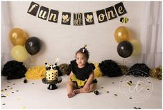 Perfect for first birthdays ! This high quality, premium cardstock banner is the cutest!! Banner is made on 4 x 5 premium cardstock in the black and gold color scheme. Letters are done in glitter gold with fun bee accents to add the perfect touch to your event! Banner is strung on satin ribbon with Golf First Birthday, 1st Birthday Party For Girls, First Birthday Photos, Birthday Ideas, Baby Birthday, Bumble Bee Decorations, Bumble Bee Cake, Bee Cakes, Bee Party