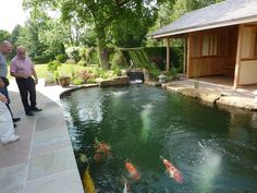 17,000 gallon (77,000 liter) Koi pond completed late 2009 in North West England. Three Eric Four filters are installed under the floor of the tea house.