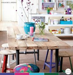 that gaves me a very bright idea with the colorful stools and the wooden beam
