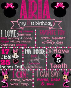 Minnie Mouse Birthday Chalkboard - 1st Birthday Chalkboard Minnie Mouse Themed First Party - Printable Chalk Poster Minnie Mouse Pink by ChalkTalkDesigns on Etsy https://www.etsy.com/listing/221975900/minnie-mouse-birthday-chalkboard-1st