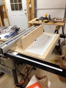 Router insert for ridgid r4510 portable table saw workshop homemade table saw router table attachment constructed from plywood melamine and lumber keyboard keysfo Images