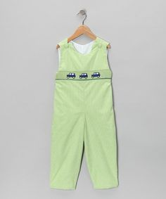 Green Gingham Smocked Car Overalls  by Smockadot Kids