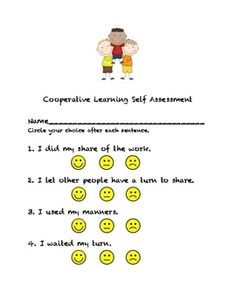 This is an easy to use self assessment that young learners can use after any cooperative learning experience.  You can also find cooperative learni...