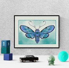 blue butterfly, drawing, painting, aesthetic, colorful, cute, for kids, watercolor, printable, art print #butterfly #blue #etsy Butterfly Drawing, Butterfly Watercolor, Nursery Prints, Nursery Decor, Bedroom Decor, Butterfly Nursery, Blue Butterfly, Kids Watercolor, Hanging Art