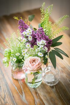 Just Picked Wild Flowers in Jam Jars | Wedding Decor  | Traditional Wedding At Newton Hall With | Pink Colour Scheme | Images By Rowan Coombs Photography | http://www.rockmywedding.co.uk/anna-andy/
