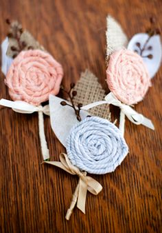 More DIY flowers...made with twine or ribbon and burlap