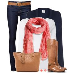 Navy, Tan & Coral by wishlist123 on Polyvore featuring Vero Moda, White Stuff, Naked & Famous, Tory Burch, Kate Spade, Tommy Hilfiger, ToryBurch, navy and waystowear