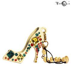 Favola Crystal White Sandal Shape Keychain