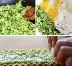 These EASY lasagna rolls are stuffed with zucchini, ricotta and Parmesan, then topped with marinara and mozzarella cheese – delicious, kid friendly and perfect if you want to feed a crowd. Skinny Taste, Zucchini Lasagna Rolls, Zucchini Pizzas, Stuffed Zucchini, Healthy Recipes, Cooking Recipes, Delicious Recipes, Cheese Lasagna, Good Food