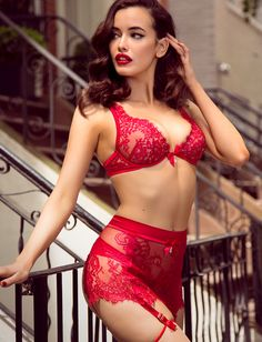 Forget roses, cover her in diamonds and red lace with Julienne. #honeybirdette