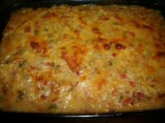 King Ranch Chicken Casserole - we add a can of ranch style beans to the chicken mixture.  So tasty!