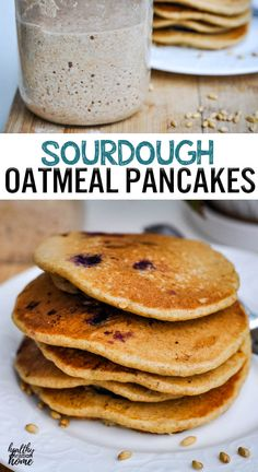 If you've begun your own sourdough routine, you NEED this delectable sourdough oatmeal pancake recipe! They are super tender & fluffy, made with hearty nourishing oats and fermented overnight with sourdough starter. Waffle Recipes, Brunch Recipes, Brunch Ideas, Breakfast Ideas, Bacon Breakfast, Healthy Breakfast Recipes, Healthy Baking, Healthy Recipes, Sourdough Recipes