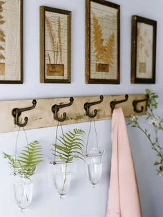Hooks on a board, so simple. Hanging glass vases....clever. Cottage Style Bedrooms, Cottage Living Rooms, Bedroom Decor, Wall Decor, Bedroom Interiors, Bedroom Wall, Wall Art, Shabby, Halloween House