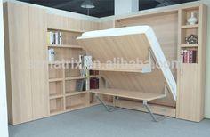 China leverancier, opklapbare houten vouwwand bed muur bed met bureau