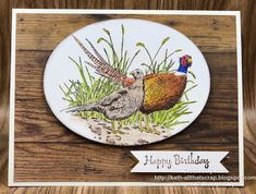 One of the first non-Christmas stamp set to was Pleasant Pheasants I thought they'd make great f. Masculine Birthday Cards, Birthday Cards For Men, Masculine Cards, Male Birthday, Bird Cards, Men's Cards, Chicken Bird, Stamping Up Cards, Stampin Up Christmas