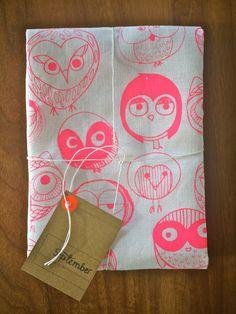 MOCHO Owl Printed Teatowel Neon Pink by ninabretnall on Etsy