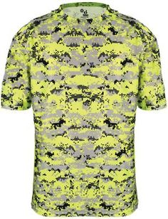 8a728299b0eb5 4180 Badger Men s Short Sleeve Sublimated Camo Tee - Safety Yellow Digital  - X-Large