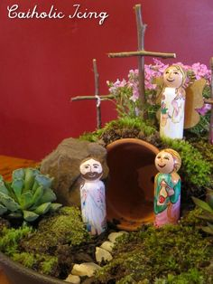 resurrection garden with peg dolls- easter craft for kids