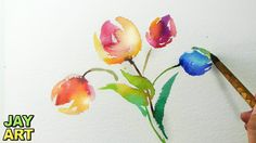 Tulips Watercolor Painting (Fast and Easy)  *High HD Youtube Video Link Below https://youtu.be/l8QgdXKm4fI
