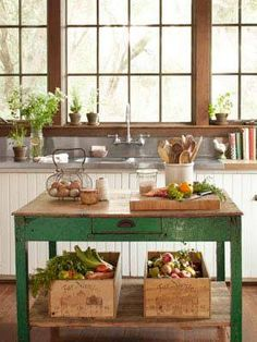 Island storage with vintage boxes for fruit and vegetables. I'm always running out of room in the fridge!