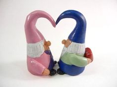 Valentine Gnome Couple Lawn Gnome Garden Gnome by TheSilverBranch, $20.00