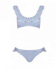 A fresh take on a feminine two-piece // Topshop Stripe Frill Crop Bikini ($64)