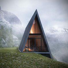 Дом-шалаш: обзор готовых дизайнерских проектов и 80 комфортных и современных реализаций http://happymodern.ru/dom-shalash-foto-proekty/ Оригинальный проект дома на склоне в горах