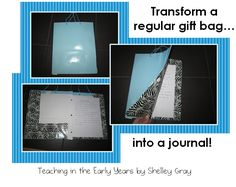 How to make a journal from a gift bag! Great for student journals!